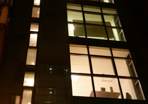 school building at night